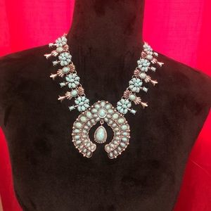 Turquoise Squash Blossom necklace- faux
